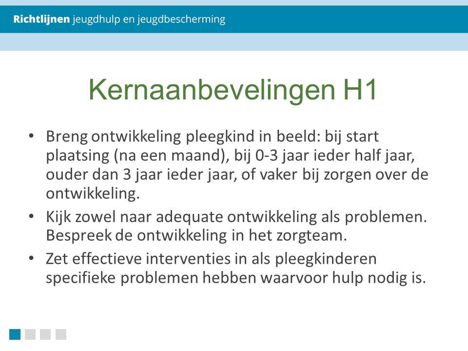Kernaanbevelingen H1 Breng ontwikkeling pleegkind in beeld: bij start plaatsing (na een maand), bij 0-3 jaar ieder half jaar, ouder dan 3 jaar ieder jaar, of vaker bij zorgen over de ontwikkeling.
