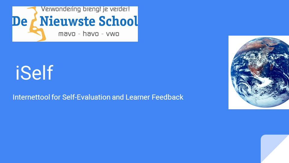 iSelf Internettool for Self-Evaluation and Learner Feedback