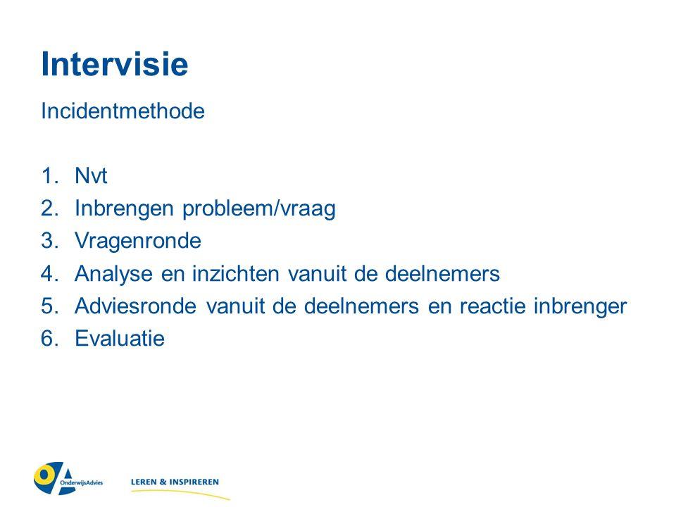 Intervisie Incidentmethode 1.Nvt 2.Inbrengen probleem/vraag 3.Vragenronde 4.Analyse en inzichten vanuit de deelnemers 5.Adviesronde vanuit de deelnemers en reactie inbrenger 6.Evaluatie