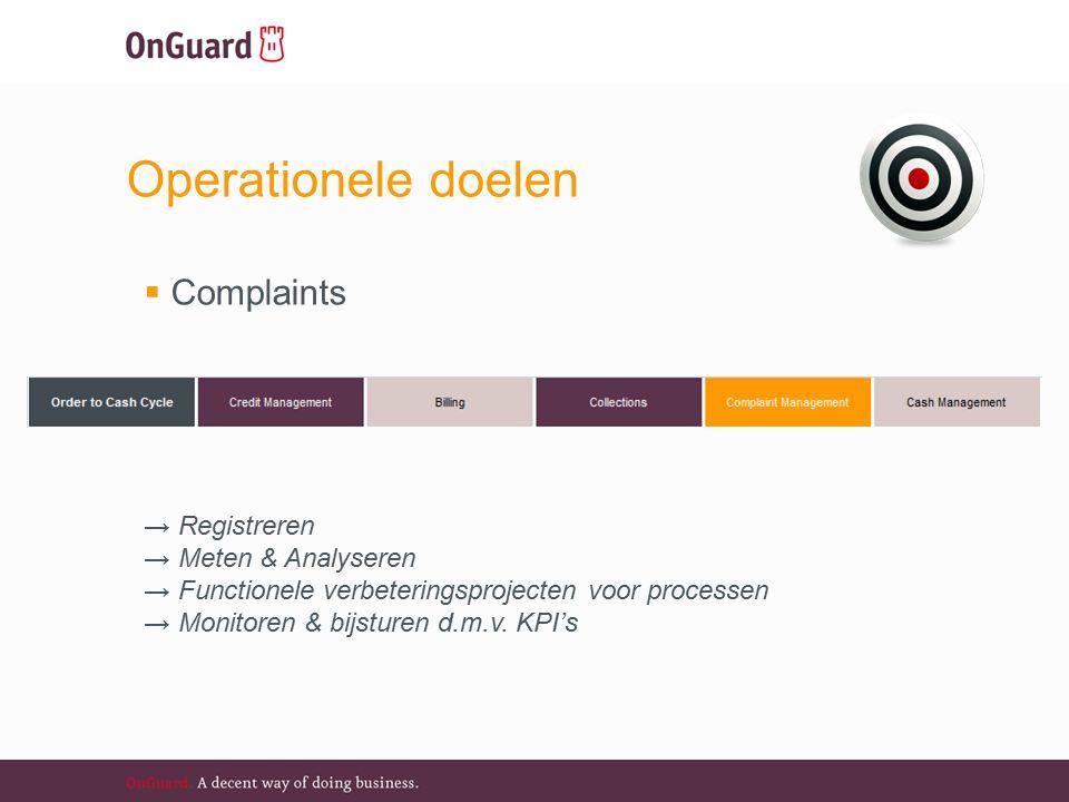 Operationele doelen  Complaints  → Registreren → Meten & Analyseren → Functionele verbeteringsprojecten voor processen → Monitoren & bijsturen d.m.v.