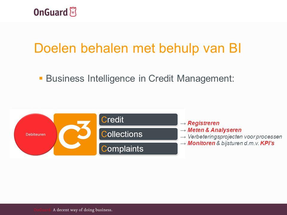 Doelen behalen met behulp van BI  Business Intelligence in Credit Management: → Registreren → Meten & Analyseren → Verbeteringsprojecten voor processen → Monitoren & bijsturen d.m.v.