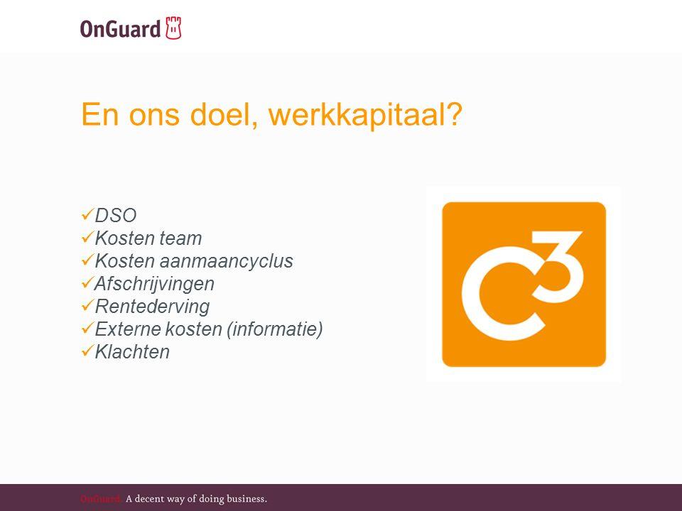 DSO Kosten team Kosten aanmaancyclus Afschrijvingen Rentederving Externe kosten (informatie) Klachten En ons doel, werkkapitaal