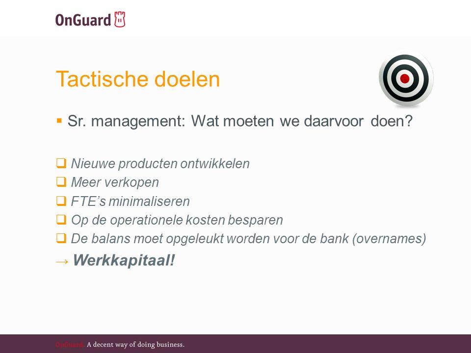 Tactische doelen  Sr. management: Wat moeten we daarvoor doen.