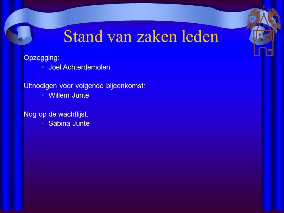 Stand van zaken leden  Opzegging: Joel Achterdemolen  Uitnodigen voor volgende bijeenkomst: Willem Junte  Nog op de wachtlijst: Sabina Junte