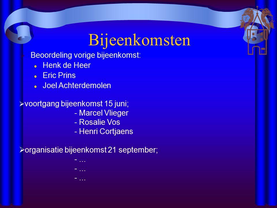 Bijeenkomsten  voortgang bijeenkomst 15 juni; - Marcel Vlieger - Rosalie Vos - Henri Cortjaens  organisatie bijeenkomst 21 september; -...