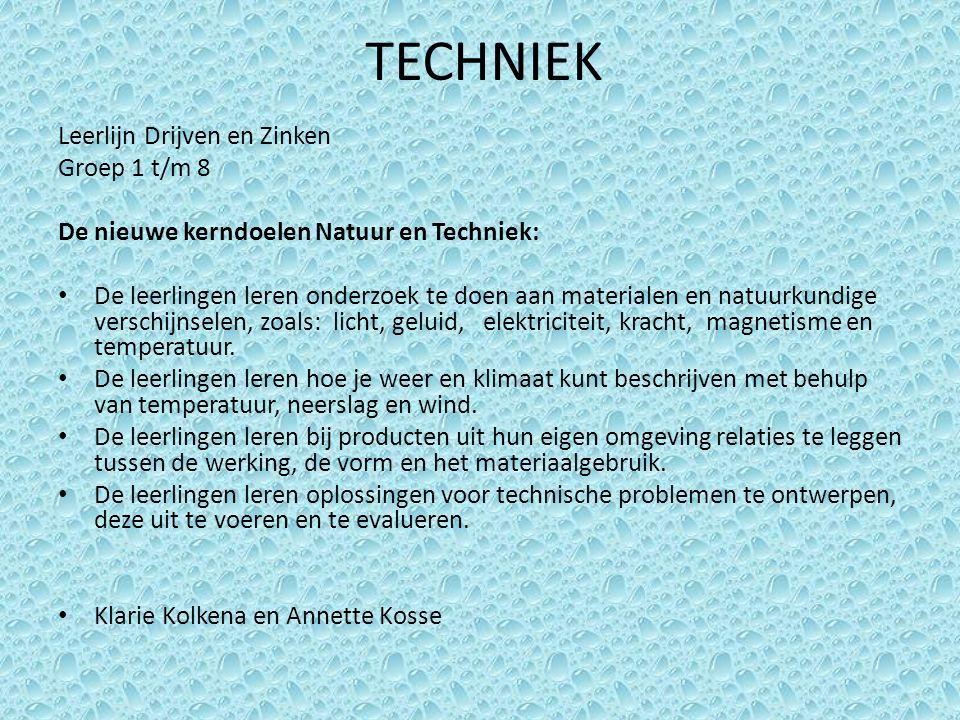 TECHNIEK Leerlijn Drijven en Zinken Groep 1 t/m 8 De nieuwe kerndoelen Natuur en Techniek: De leerlingen leren onderzoek te doen aan materialen en nat