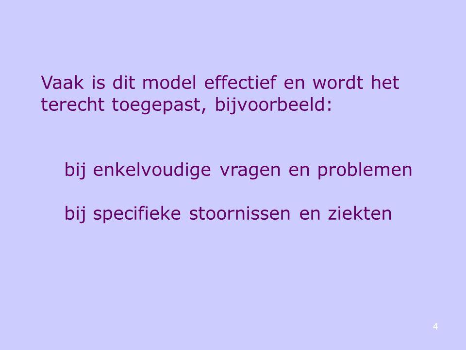 Vaak is dit model effectief en wordt het terecht toegepast, bijvoorbeeld: bij enkelvoudige vragen en problemen bij specifieke stoornissen en ziekten 4