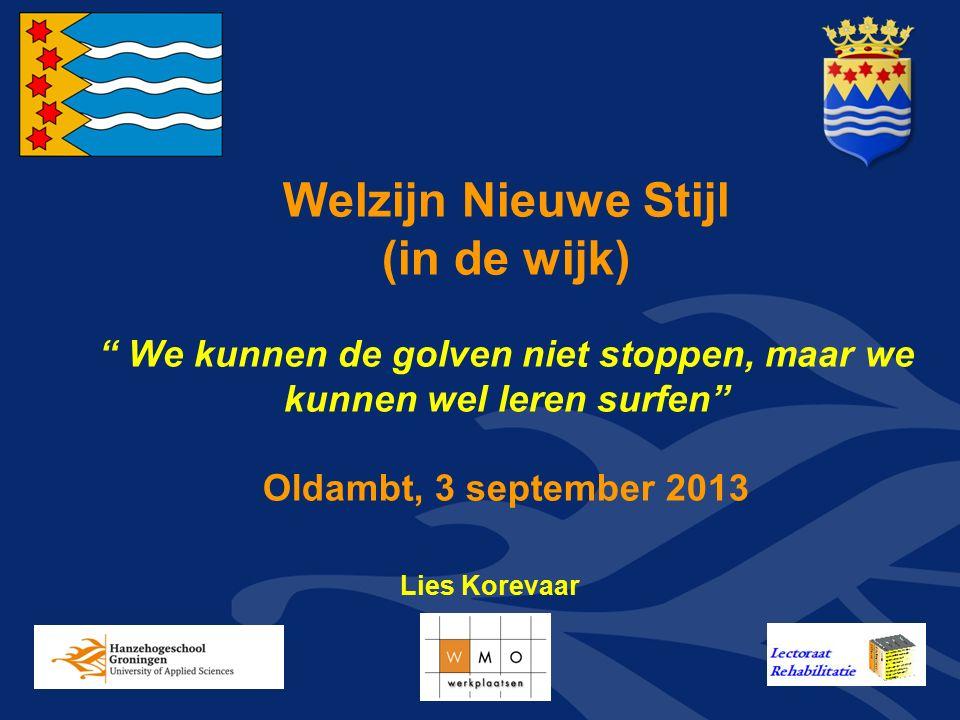 """Welzijn Nieuwe Stijl (in de wijk) """" We kunnen de golven niet stoppen, maar we kunnen wel leren surfen"""" Oldambt, 3 september 2013 Lies Korevaar"""
