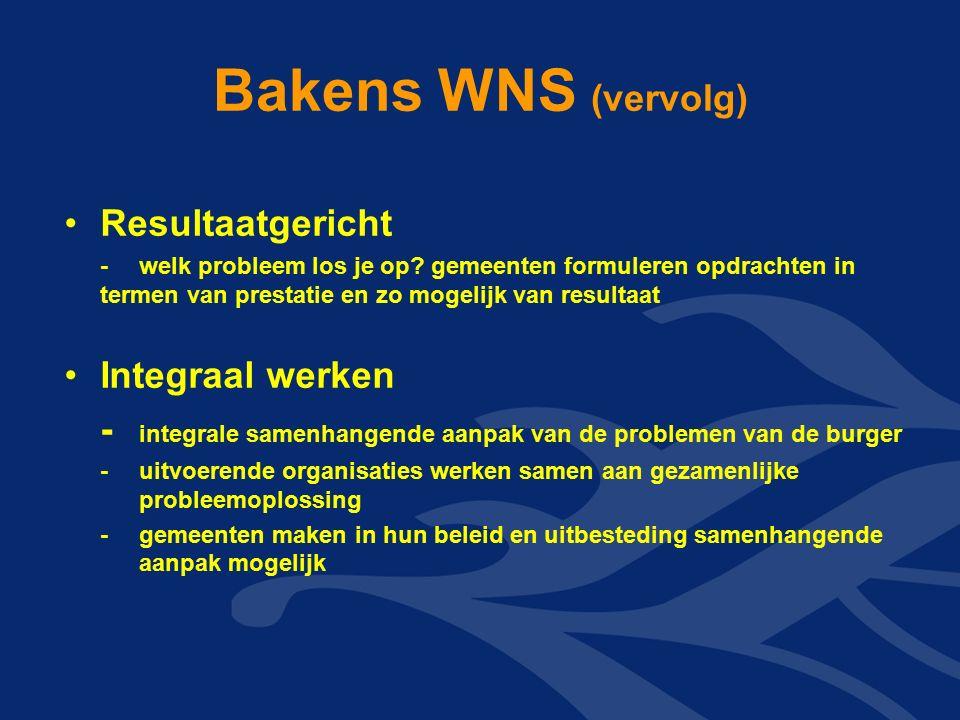 Bakens WNS (vervolg) Resultaatgericht -welk probleem los je op? gemeenten formuleren opdrachten in termen van prestatie en zo mogelijk van resultaat I