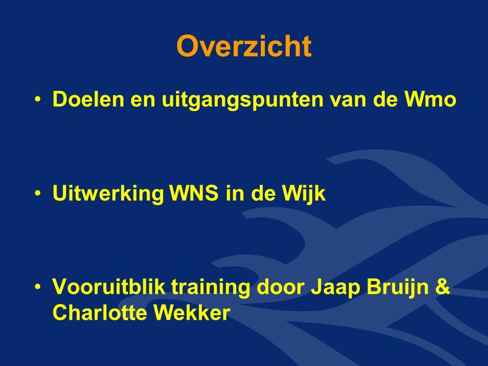Overzicht Doelen en uitgangspunten van de Wmo Uitwerking WNS in de Wijk Vooruitblik training door Jaap Bruijn & Charlotte Wekker