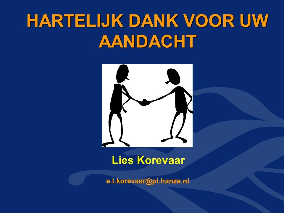 HARTELIJK DANK VOOR UW AANDACHT HARTELIJK DANK VOOR UW AANDACHT e.l.korevaar@pl.hanze.nl Lies Korevaar