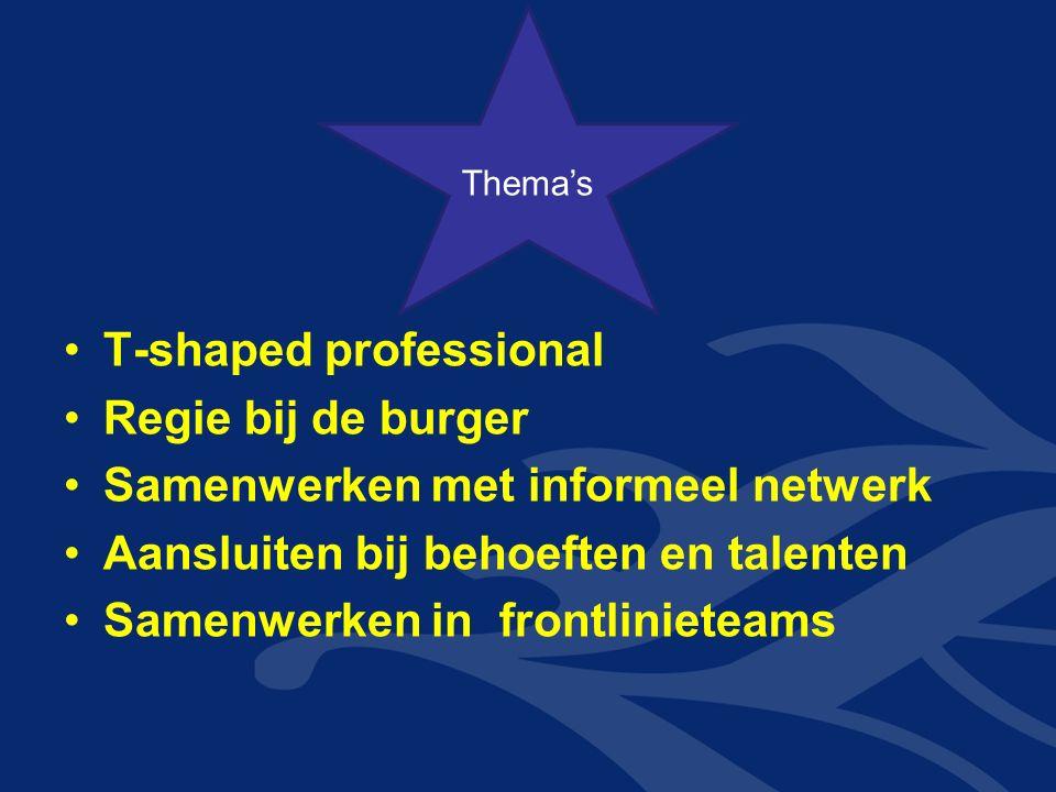 T-shaped professional Regie bij de burger Samenwerken met informeel netwerk Aansluiten bij behoeften en talenten Samenwerken in frontlinieteams Thema'