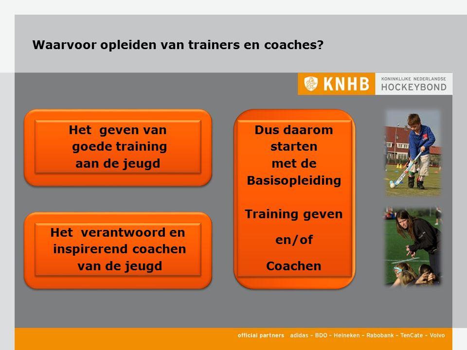 Waarvoor opleiden van trainers en coaches? Het geven van goede training aan de jeugd Het geven van goede training aan de jeugd Het verantwoord en insp