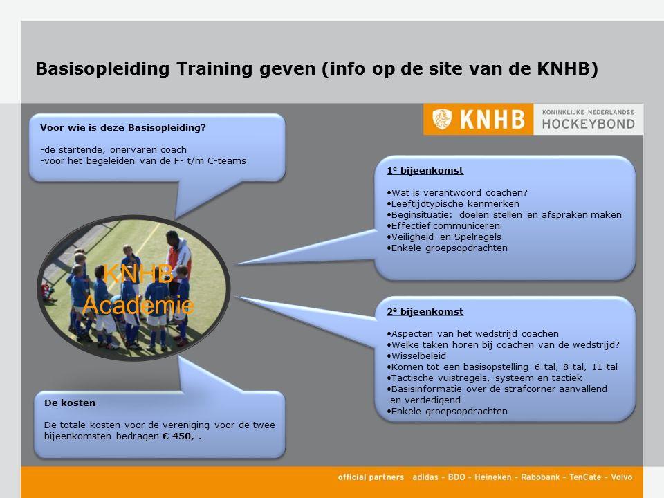 Basisopleiding Training geven (info op de site van de KNHB) 1 e bijeenkomst Wat is verantwoord coachen? Leeftijdtypische kenmerken Beginsituatie: doel