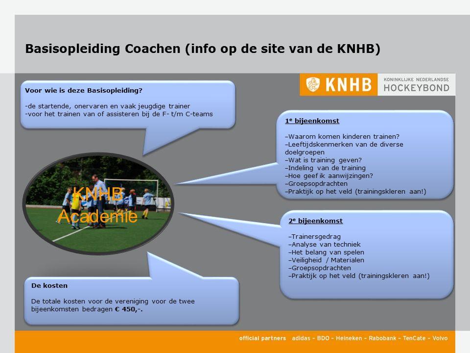 Basisopleiding Coachen (info op de site van de KNHB) 1 e bijeenkomst ‒ Waarom komen kinderen trainen? ‒ Leeftijdskenmerken van de diverse doelgroepen