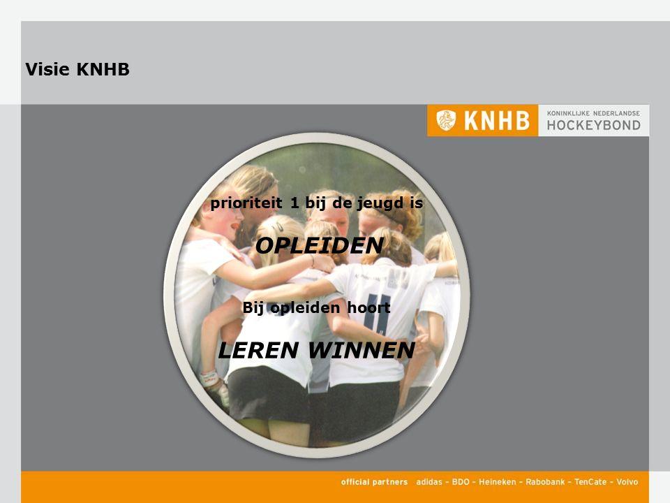 Visie KNHB prioriteit 1 bij de jeugd is OPLEIDEN Bij opleiden hoort LEREN WINNEN