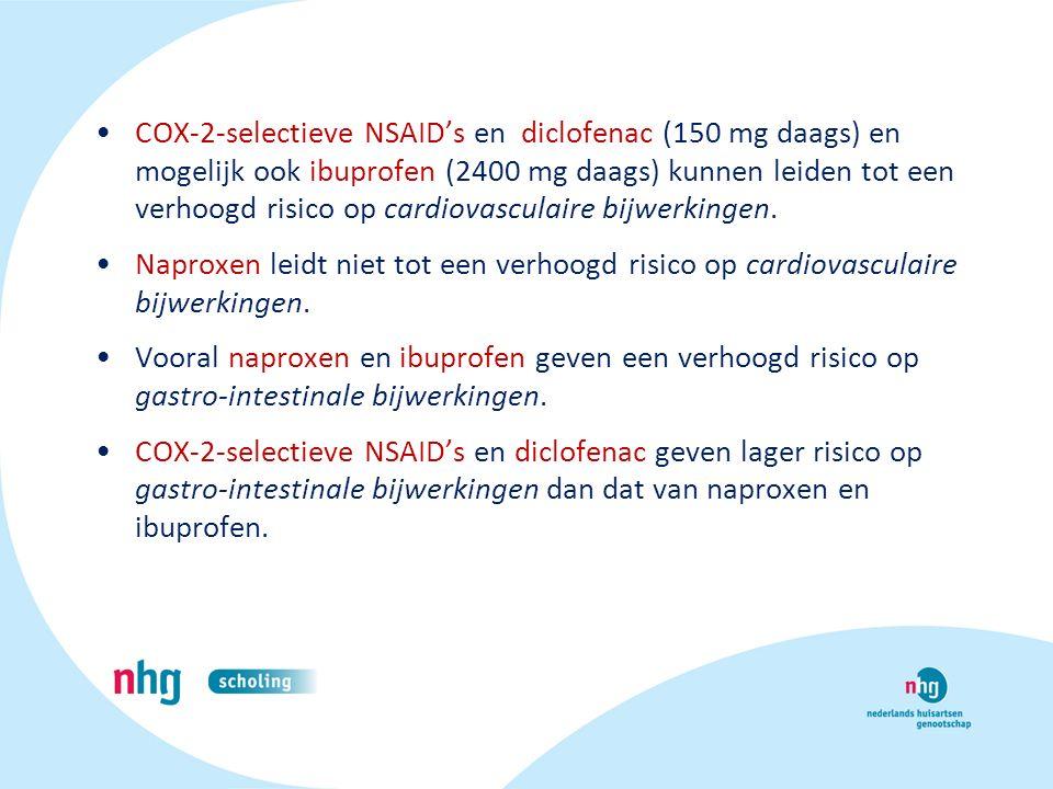 COX-2-selectieve NSAID's en diclofenac (150 mg daags) en mogelijk ook ibuprofen (2400 mg daags) kunnen leiden tot een verhoogd risico op cardiovascula