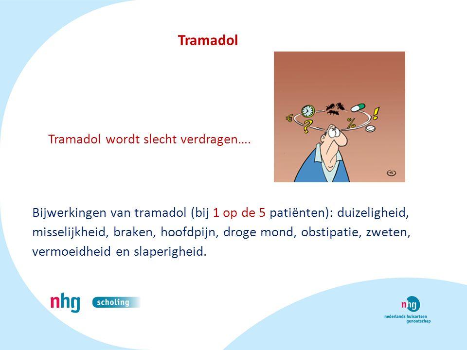 Bijwerkingen van tramadol (bij 1 op de 5 patiënten): duizeligheid, misselijkheid, braken, hoofdpijn, droge mond, obstipatie, zweten, vermoeidheid en s