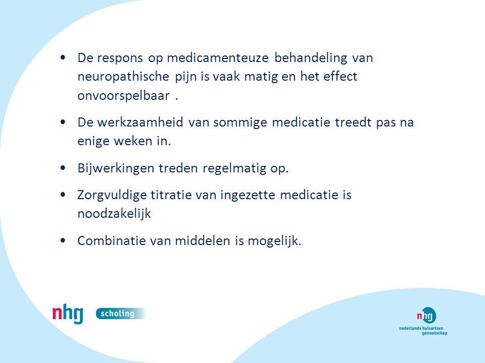 De respons op medicamenteuze behandeling van neuropathische pijn is vaak matig en het effect onvoorspelbaar. De werkzaamheid van sommige medicatie tre
