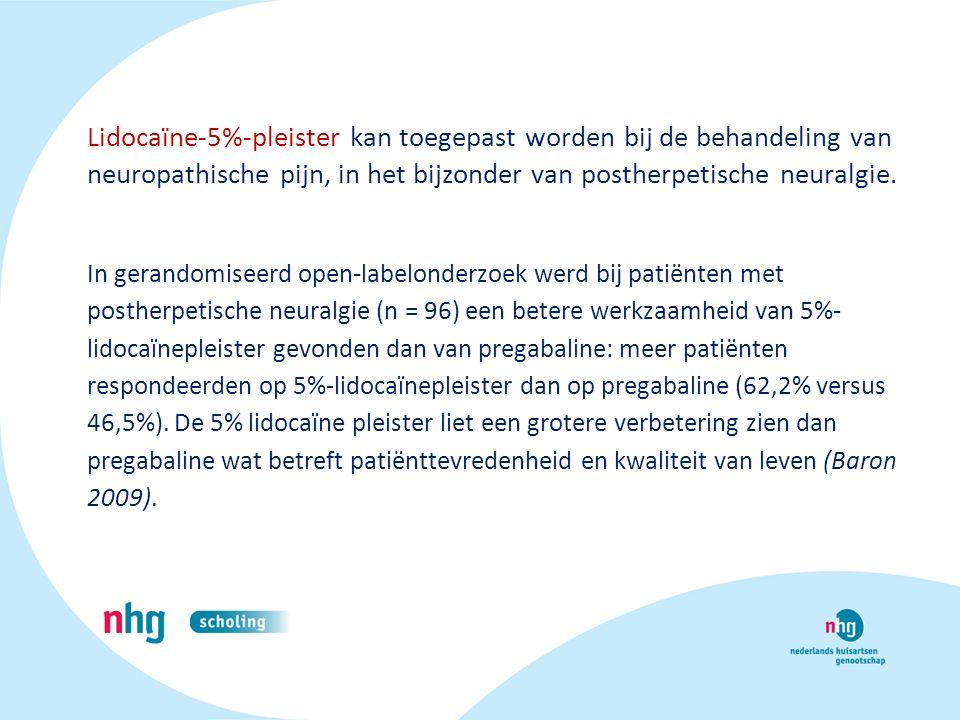 Lidocaïne-5%-pleister kan toegepast worden bij de behandeling van neuropathische pijn, in het bijzonder van postherpetische neuralgie. In gerandomisee