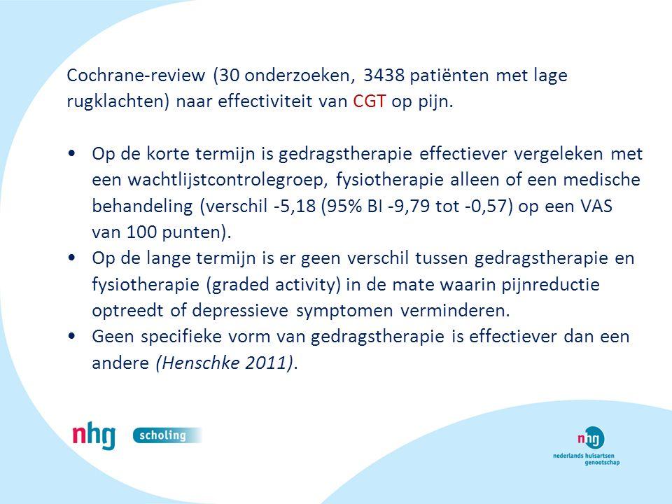 Cochrane-review (30 onderzoeken, 3438 patiënten met lage rugklachten) naar effectiviteit van CGT op pijn. Op de korte termijn is gedragstherapie effec