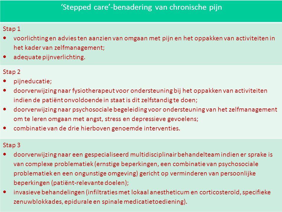 'Stepped care'-benadering van chronische pijn Stap 1  voorlichting en advies ten aanzien van omgaan met pijn en het oppakken van activiteiten in het