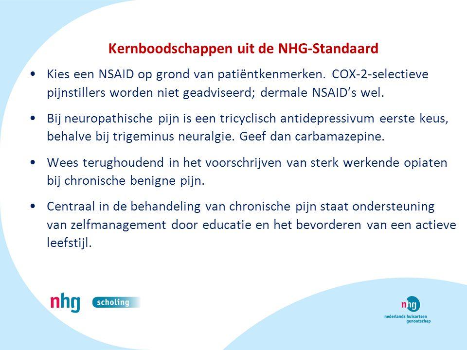 Kernboodschappen uit de NHG-Standaard Kies een NSAID op grond van patiëntkenmerken. COX-2-selectieve pijnstillers worden niet geadviseerd; dermale NSA