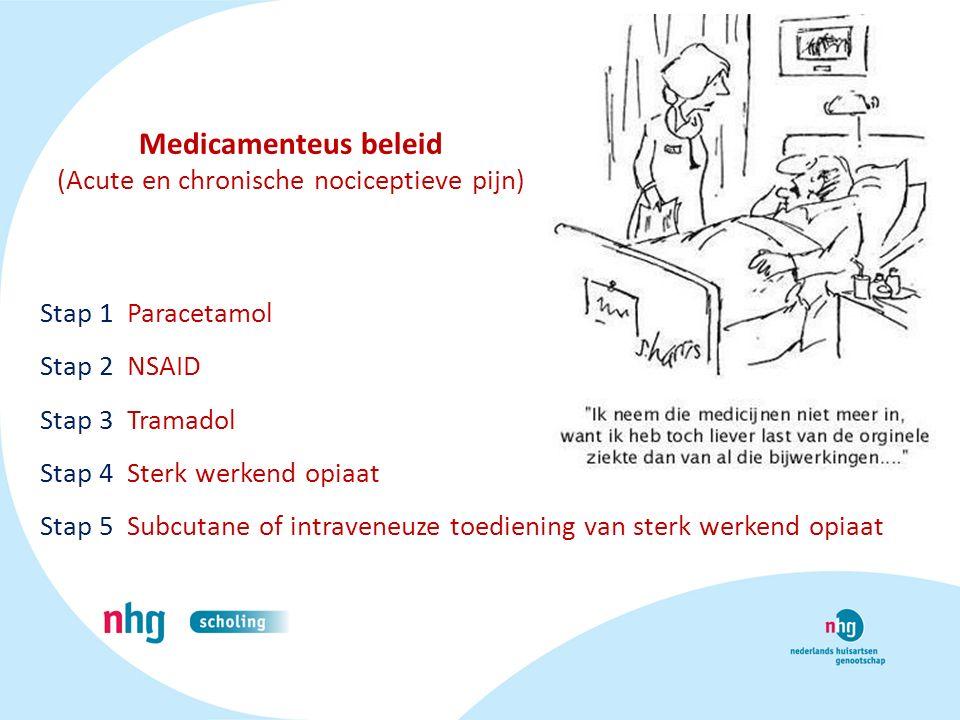 Medicamenteus beleid (Acute en chronische nociceptieve pijn) Stap 1 Paracetamol Stap 2 NSAID Stap 3 Tramadol Stap 4 Sterk werkend opiaat Stap 5 Subcut