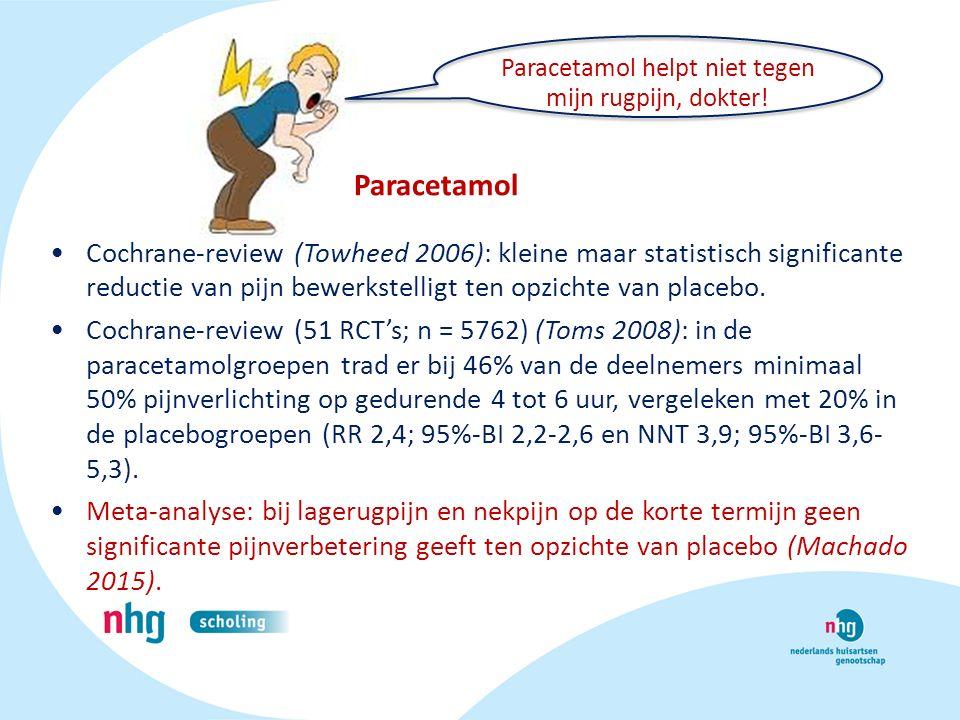 Cochrane-review (Towheed 2006): kleine maar statistisch significante reductie van pijn bewerkstelligt ten opzichte van placebo. Cochrane-review (51 RC