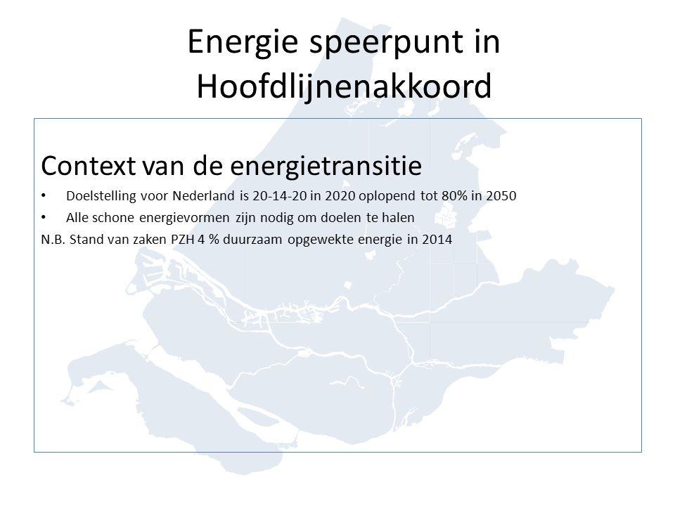 Energie speerpunt in Hoofdlijnenakkoord Context van de energietransitie Doelstelling voor Nederland is 20-14-20 in 2020 oplopend tot 80% in 2050 Alle schone energievormen zijn nodig om doelen te halen N.B.