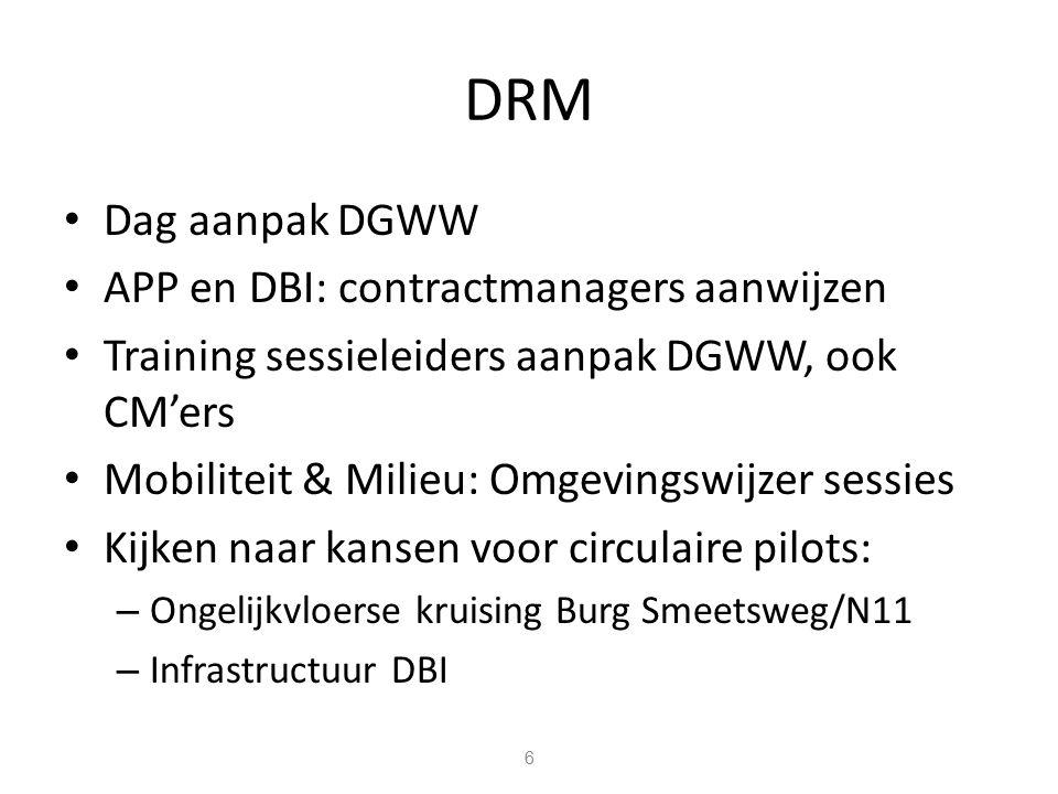 DRM Dag aanpak DGWW APP en DBI: contractmanagers aanwijzen Training sessieleiders aanpak DGWW, ook CM'ers Mobiliteit & Milieu: Omgevingswijzer sessies Kijken naar kansen voor circulaire pilots: – Ongelijkvloerse kruising Burg Smeetsweg/N11 – Infrastructuur DBI 6