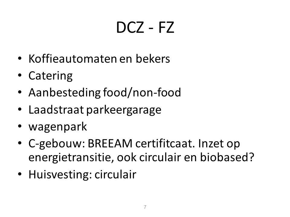 DCZ - FZ Koffieautomaten en bekers Catering Aanbesteding food/non-food Laadstraat parkeergarage wagenpark C-gebouw: BREEAM certifitcaat.