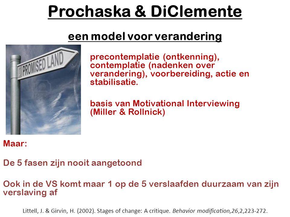 Prochaska & DiClemente een model voor verandering precontemplatie (ontkenning), contemplatie (nadenken over verandering), voorbereiding, actie en stabilisatie.