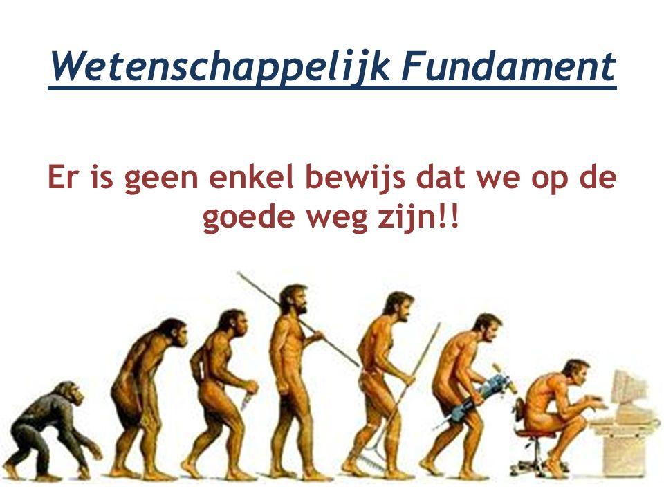 Wetenschappelijk Fundament Er is geen enkel bewijs dat we op de goede weg zijn!!