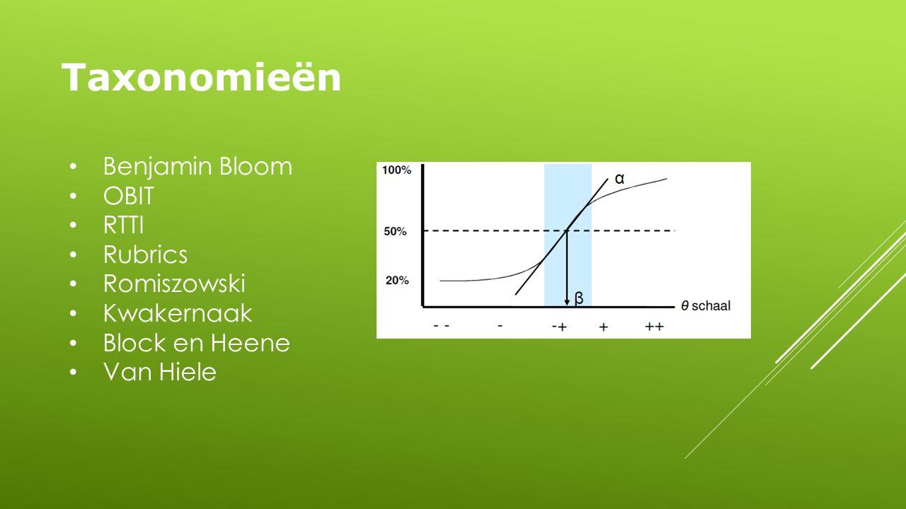 Taxonomieën Benjamin Bloom OBIT RTTI Rubrics Romiszowski Kwakernaak Block en Heene Van Hiele
