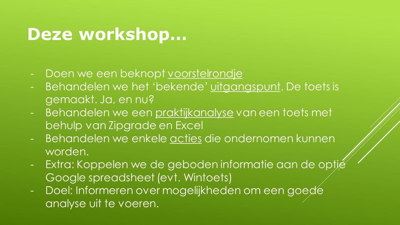 Deze workshop… -Doen we een beknopt voorstelrondje -Behandelen we het 'bekende' uitgangspunt.