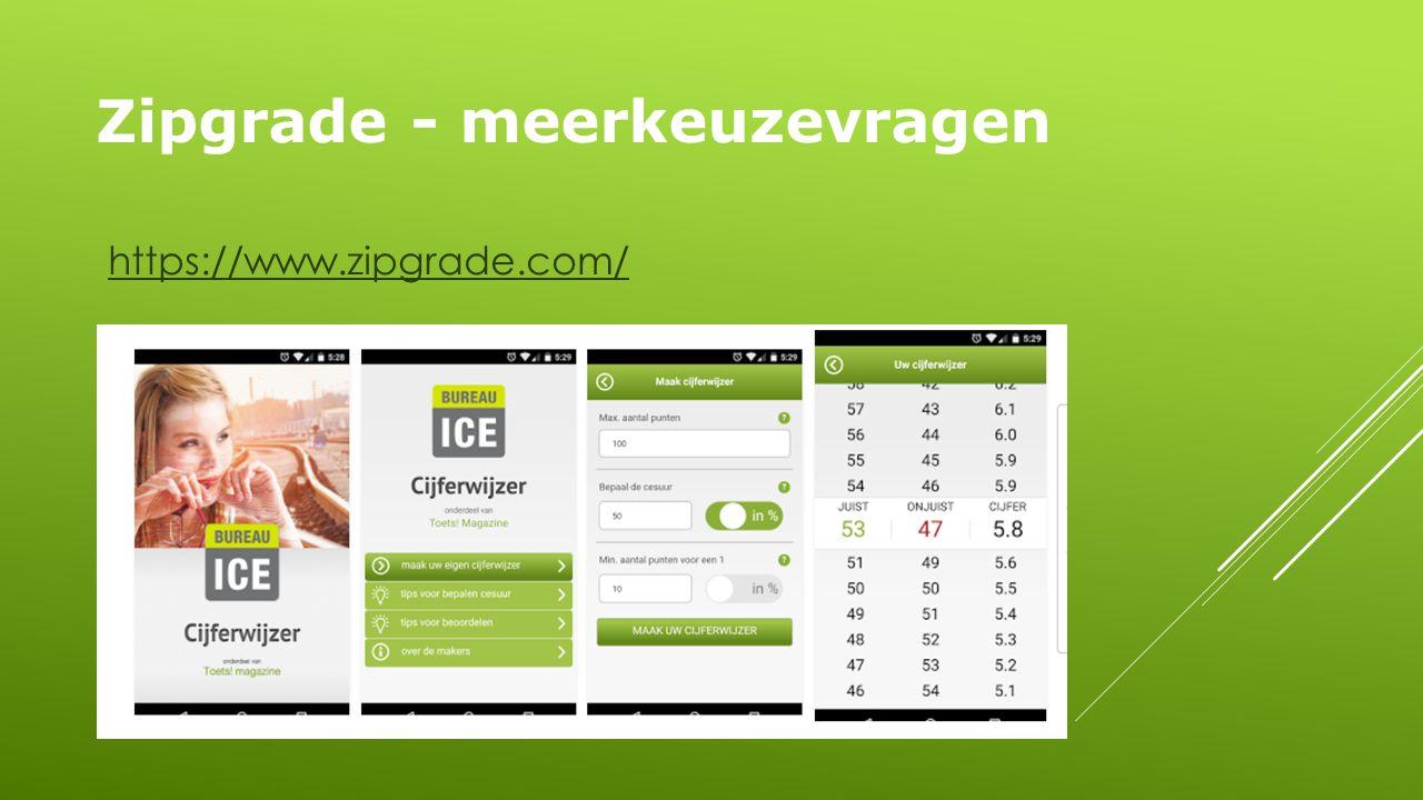 Zipgrade - meerkeuzevragen https://www.zipgrade.com/