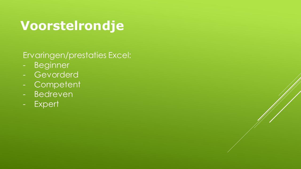 Voorstelrondje Ervaringen/prestaties Excel: -Beginner -Gevorderd -Competent -Bedreven -Expert