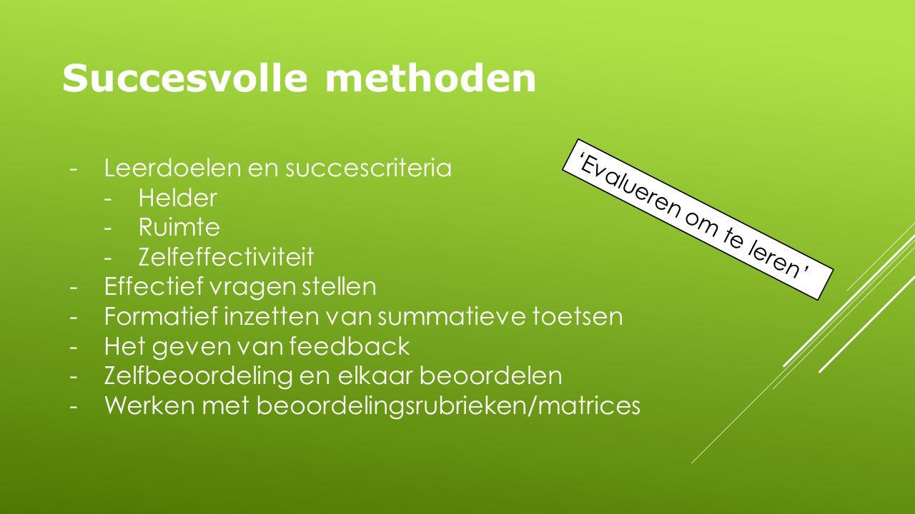 Succesvolle methoden -Leerdoelen en succescriteria -Helder -Ruimte -Zelfeffectiviteit -Effectief vragen stellen -Formatief inzetten van summatieve toetsen -Het geven van feedback -Zelfbeoordeling en elkaar beoordelen -Werken met beoordelingsrubrieken/matrices 'Evalueren om te leren'