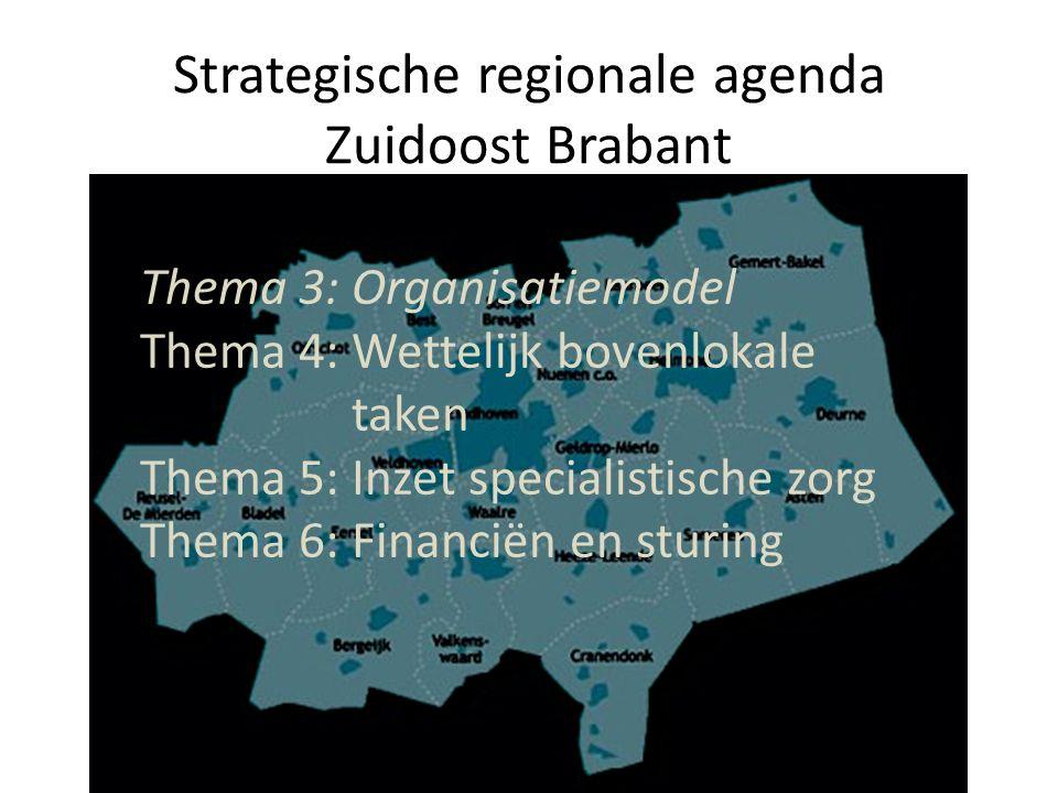 Strategische regionale agenda Zuidoost Brabant Thema 3: Organisatiemodel Thema 4: Wettelijk bovenlokale taken Thema 5: Inzet specialistische zorg Thema 6: Financiën en sturing
