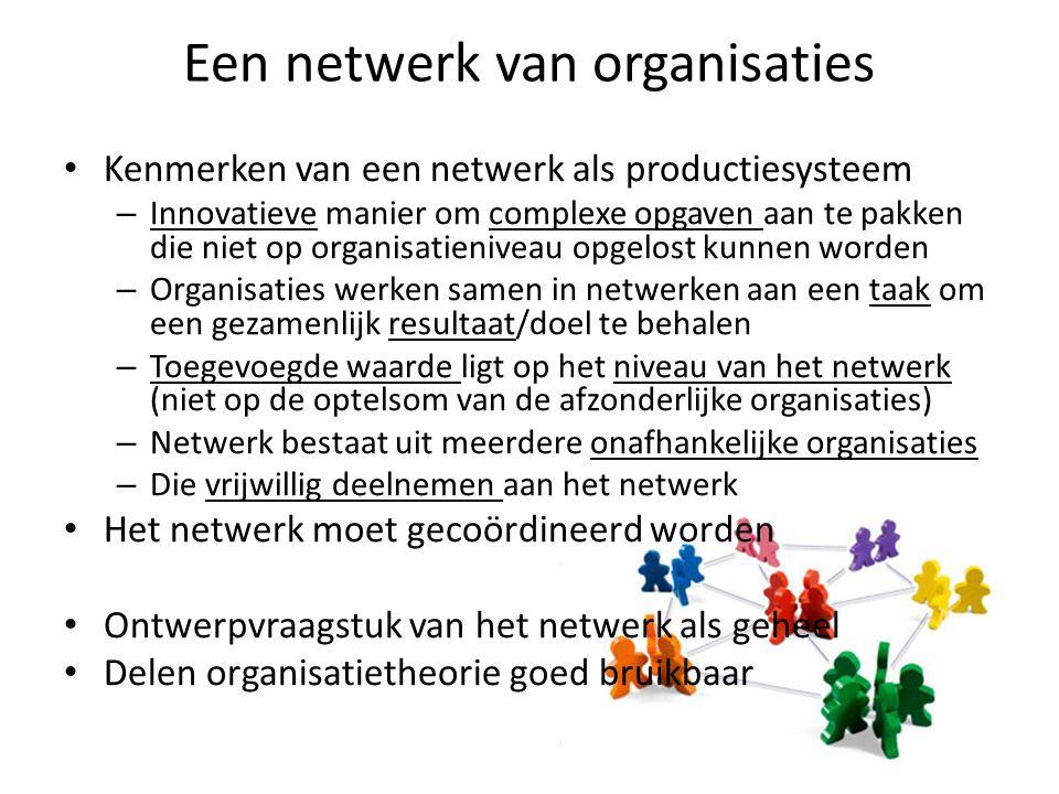 Een netwerk van organisaties Kenmerken van een netwerk als productiesysteem – Innovatieve manier om complexe opgaven aan te pakken die niet op organisatieniveau opgelost kunnen worden – Organisaties werken samen in netwerken aan een taak om een gezamenlijk resultaat/doel te behalen – Toegevoegde waarde ligt op het niveau van het netwerk (niet op de optelsom van de afzonderlijke organisaties) – Netwerk bestaat uit meerdere onafhankelijke organisaties – Die vrijwillig deelnemen aan het netwerk Het netwerk moet gecoördineerd worden Ontwerpvraagstuk van het netwerk als geheel Delen organisatietheorie goed bruikbaar