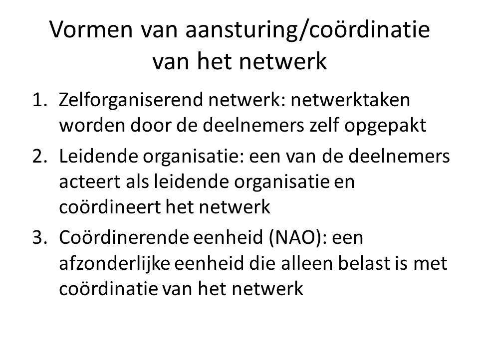 Vormen van aansturing/coördinatie van het netwerk 1.Zelforganiserend netwerk: netwerktaken worden door de deelnemers zelf opgepakt 2.Leidende organisatie: een van de deelnemers acteert als leidende organisatie en coördineert het netwerk 3.Coördinerende eenheid (NAO): een afzonderlijke eenheid die alleen belast is met coördinatie van het netwerk