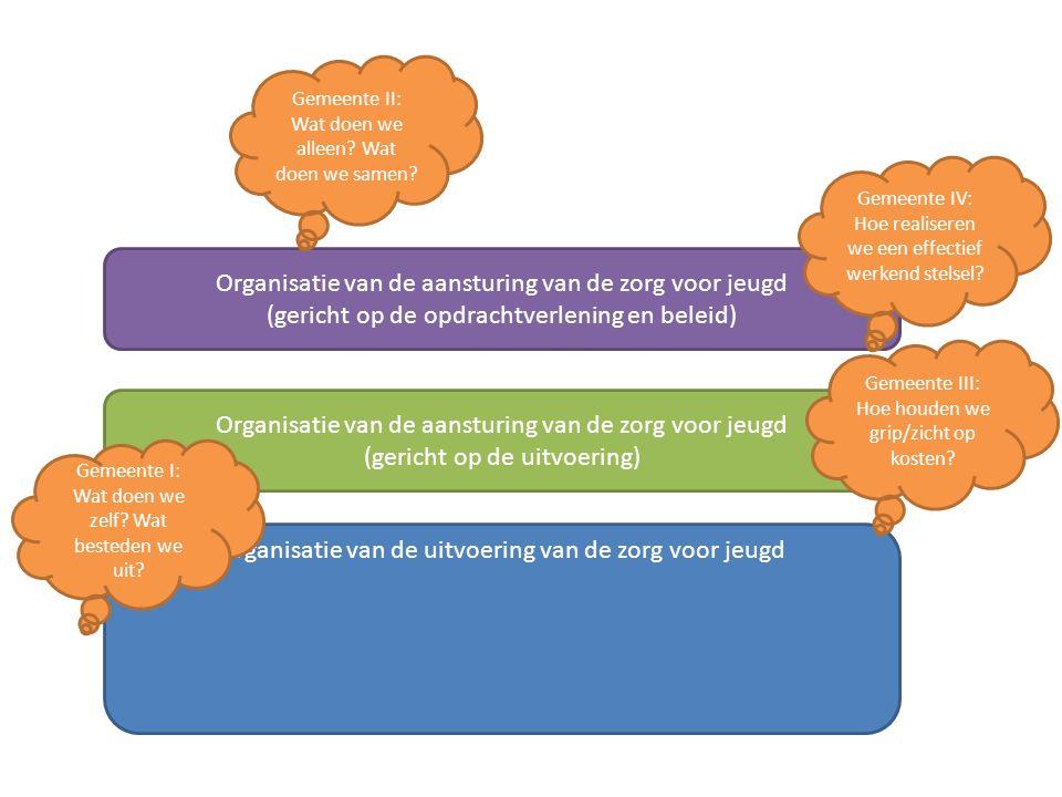Organisatie van de uitvoering van de zorg voor jeugd Organisatie van de aansturing van de zorg voor jeugd (gericht op de uitvoering) Organisatie van de aansturing van de zorg voor jeugd (gericht op de opdrachtverlening en beleid) Gemeente I: Wat doen we zelf.