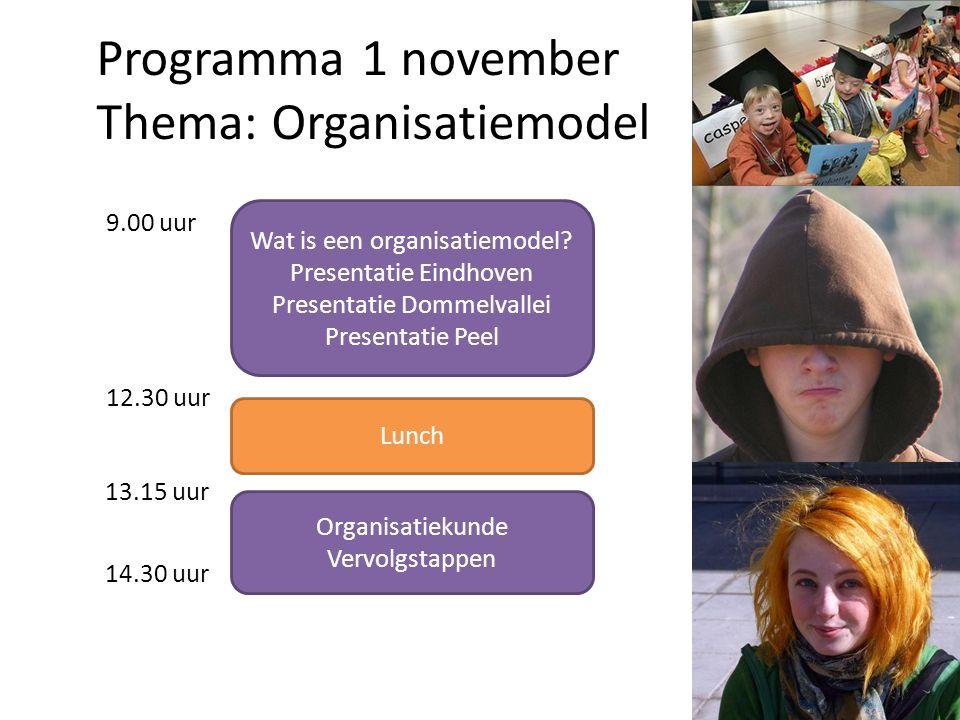Programma 1 november Thema: Organisatiemodel Wat is een organisatiemodel.