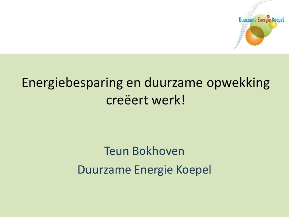 Energiebesparing en duurzame opwekking creëert werk! Teun Bokhoven Duurzame Energie Koepel