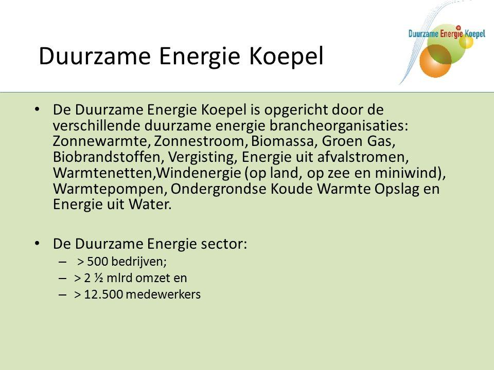 De Duurzame Energie Koepel is opgericht door de verschillende duurzame energie brancheorganisaties: Zonnewarmte, Zonnestroom, Biomassa, Groen Gas, Biobrandstoffen, Vergisting, Energie uit afvalstromen, Warmtenetten,Windenergie (op land, op zee en miniwind), Warmtepompen, Ondergrondse Koude Warmte Opslag en Energie uit Water.