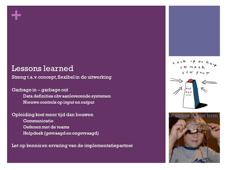 + Lessons learned Streng t.a.v. concept, flexibel in de uitwerking Garbage in – garbage out Data definities obv aanleverende systemen Nieuwe controls