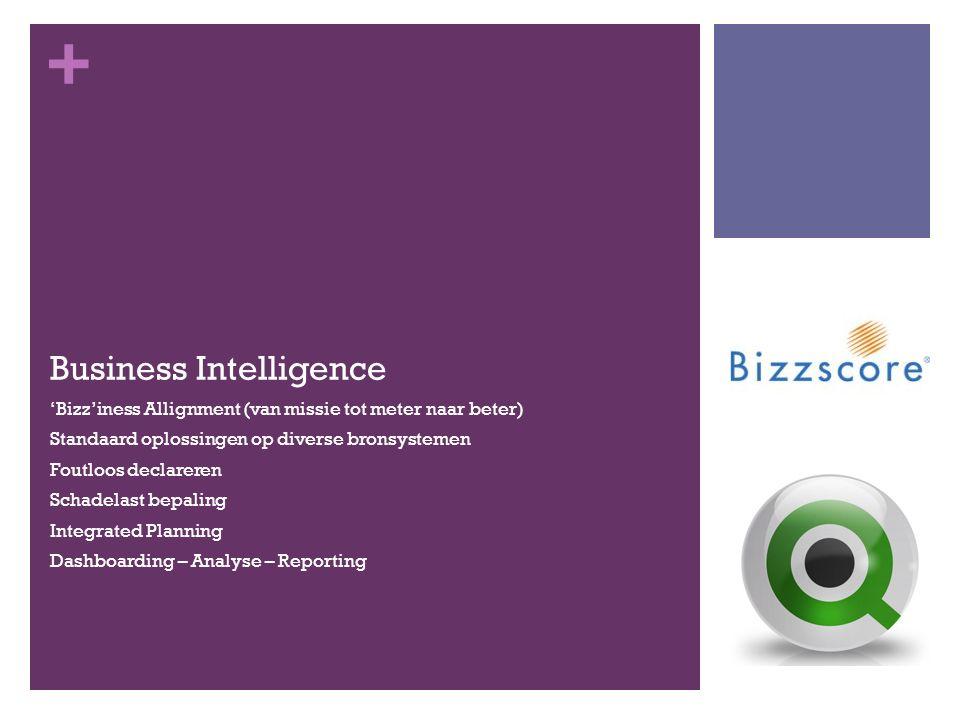 + Business Intelligence 'Bizz'iness Allignment (van missie tot meter naar beter) Standaard oplossingen op diverse bronsystemen Foutloos declareren Schadelast bepaling Integrated Planning Dashboarding – Analyse – Reporting