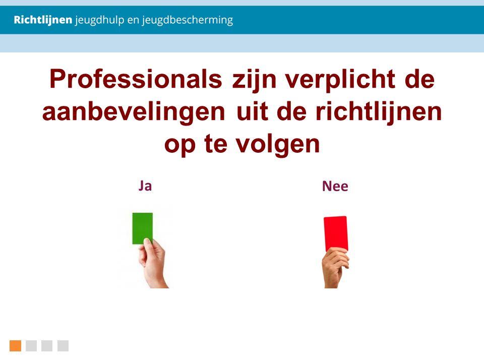 Professionals zijn verplicht de aanbevelingen uit de richtlijnen op te volgen Ja Nee