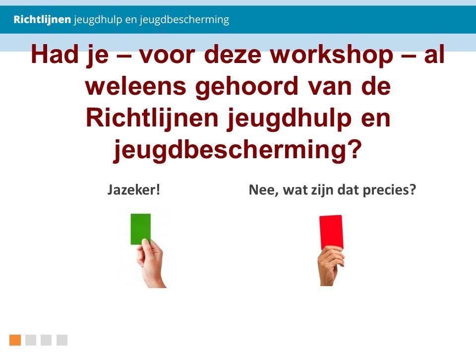 Had je – voor deze workshop – al weleens gehoord van de Richtlijnen jeugdhulp en jeugdbescherming.